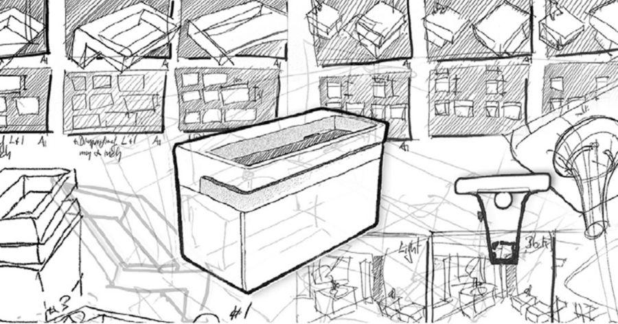 Le croquis du design d'un meuble plan-vasque