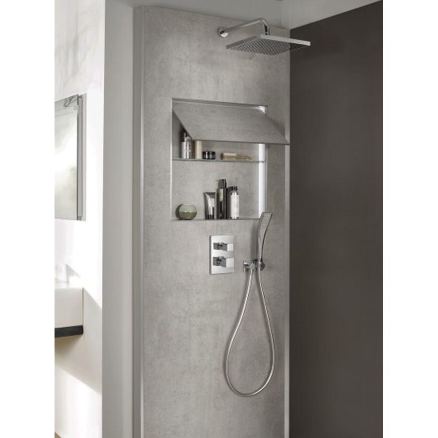 Douche avec panneau mural gris