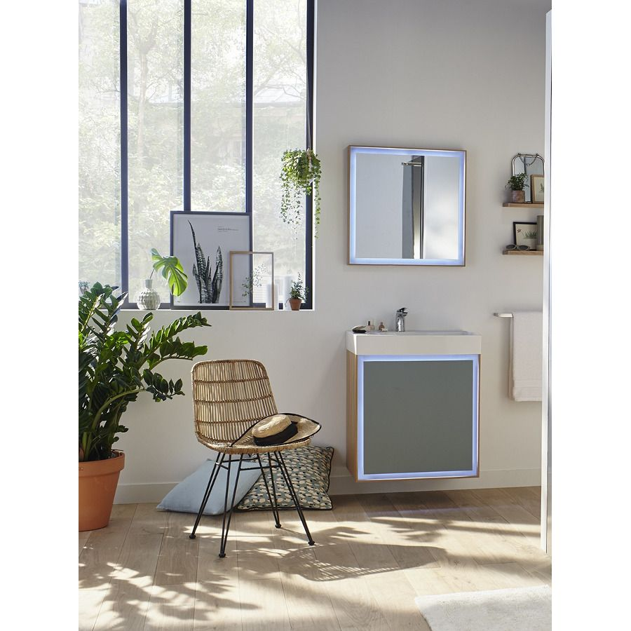 meuble de salle de bains décoré avec des plantes et une fenêtre design