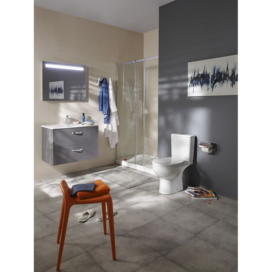 Un meuble de salle de bains gris