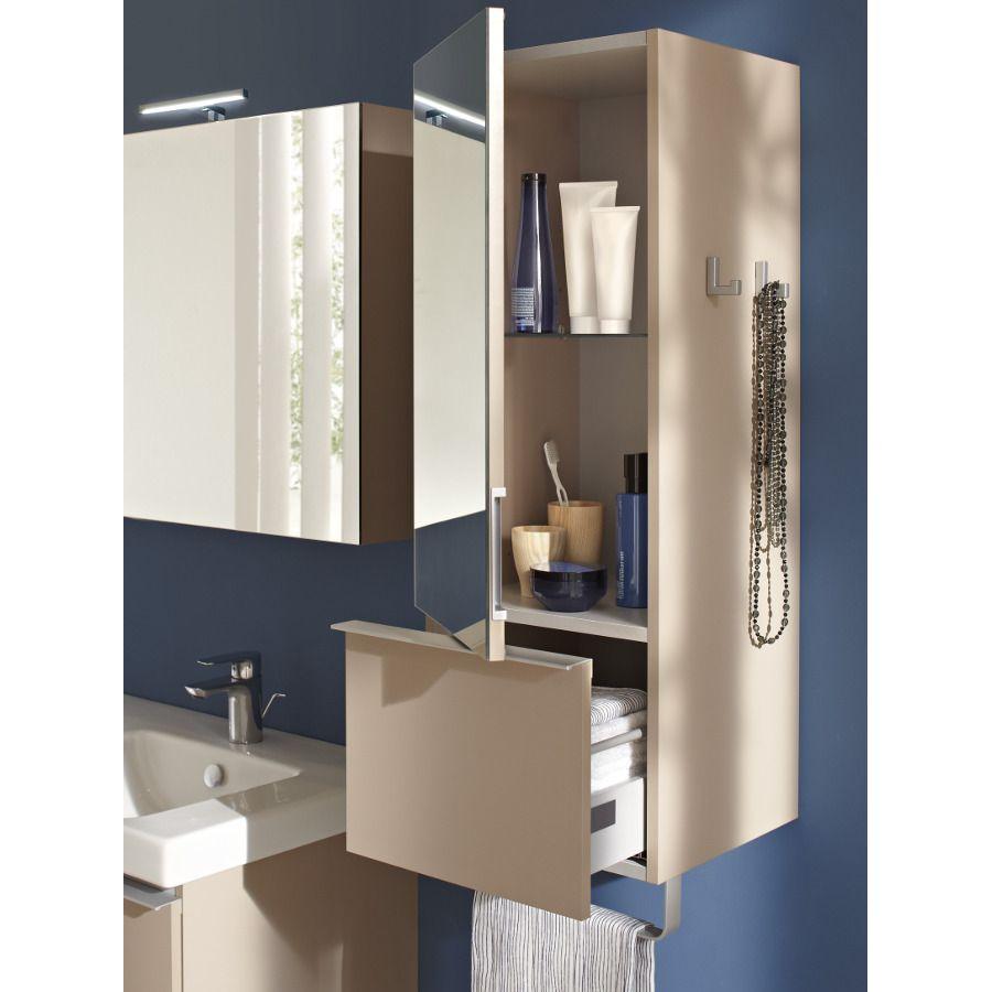 Un meuble vertical avec miroir, porte serviette et tiroir intégré