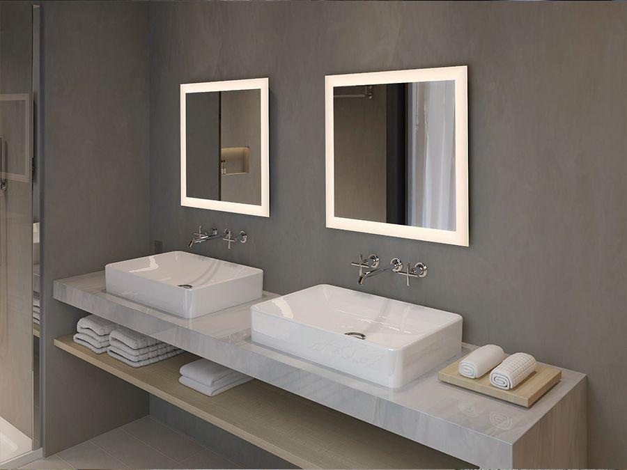 Miroirs avec double vasque rétroéclairés