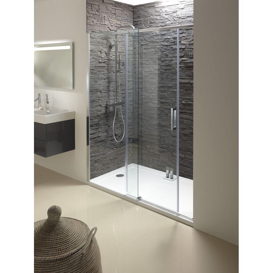 Paroi de douche en niche, en angle, entre trois murs