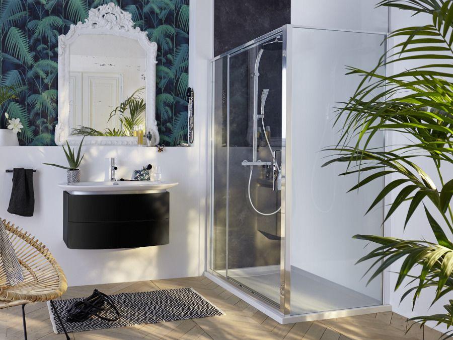 Paroi de douche en anglais, décoration papier peint plantes