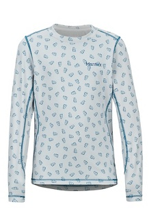 Boys' Midweight Harrier Long-Sleeve Crew, Moroccan Blue Ditzy Marmot, medium
