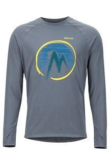 Men's Lightweight Kestrel Long-Sleeve Crew, Steel Onyx, medium