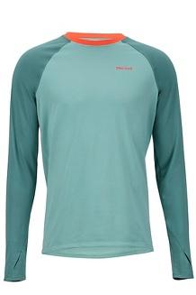 Men's Lightweight Kestrel Long-Sleeve Crew, Blue Agave/Mallard Green, medium