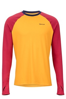 Men's Lightweight Kestrel Long-Sleeve Crew, Golden Sun/Sienna Red, medium