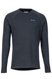 Men's Midweight Harrier Long-Sleeve Crew, Black, medium