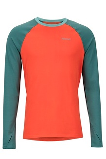 Men's Midweight Harrier Long-Sleeve Crew, Mars Orange/Mallard Green, medium