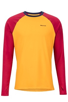 Men's Midweight Harrier Long-Sleeve Crew, Golden Sun/Sienna Red, medium