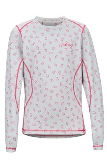 Girls' Midweight Meghan Long-Sleeve Crew, Disco Pink Ditzy Marmot, medium