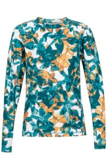 Girl's Midweight Meghan Crew Neck Shirt, Patina Green Floral Camo, medium