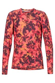 Girl's Midweight Meghan Crew Neck Shirt, Living Coral Floral Camo, medium