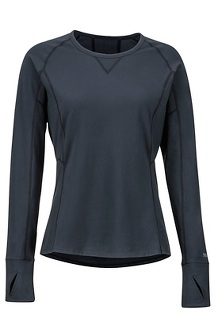 Women's Lightweight Lana Long-Sleeve Crew, Black, medium