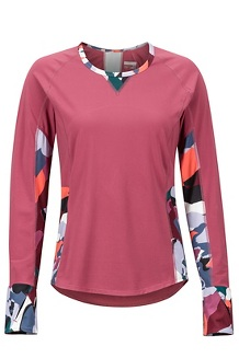 Women's Lightweight Lana Long-Sleeve Crew, Dry Rose/Multi Pop Camo, medium