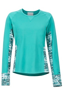 Women's Lightweight Lana LS Crew, Patina Green Painterly Stripe, medium