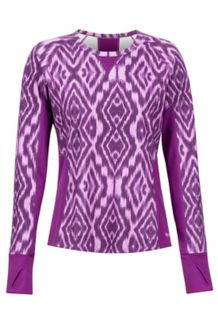 Women's Midweight Meghan Crewneck Shirt, Grape Textured Ikat, medium
