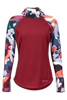 Women's Midweight Meghan Hoody, Claret/Multi Pop Camo, medium