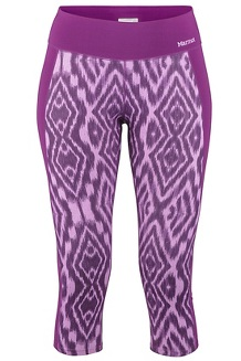 Women's Midweight Meghan Capris, Grape Textured Ikat, medium