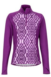 Women's Heavyweight Nicole 1/2 Zip, Grape Textured Ikat, medium