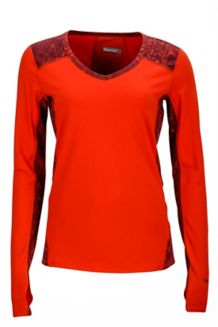 Wm's Meghan LS V Neck, Poppy/Magenta Terrain, medium