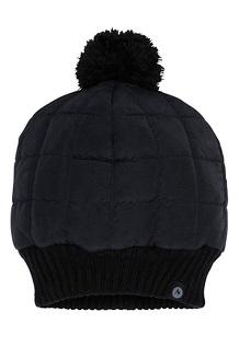 Women's Quilted Pom Beanie, Black, medium