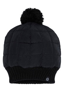 Women's Quilted Pom Beanie, Black, medium