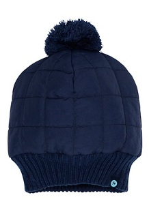 Women's Quilted Pom Beanie, Arctic Navy, medium