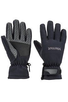 Women's Glide Softshell Gloves, Black, medium