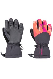 Girls' Glade Gloves, Nasturtium Sweet Camo, medium