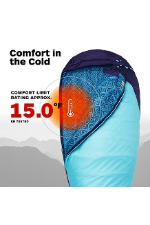 Women's Trestles 15° Sleeping Bag, French Blue/Harbor Blue, medium