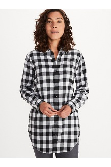 Women's Nicolet Lightweight Long-Sleeve Flannel Shirt, Black, medium