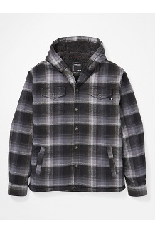 Men's Ridgefield Sherpa-Lined Flannel Hoody, Steel Onyx, medium