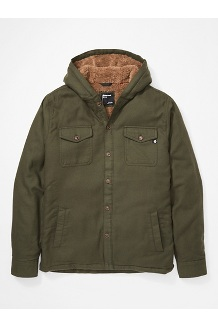 Men's Ridgefield Sherpa-Lined Flannel Hoody, Nori, medium
