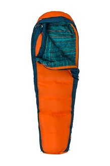 Kids' Banzai Trestles 35° Sleeping Bag, Mandarin Orange/Denim, medium