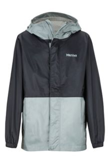 Boys' PreCip Eco Jacket, Black/Grey Storm, medium