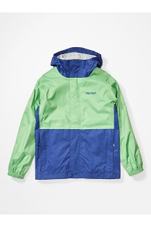 Boys' PreCip Eco Jacket, Emerald/Royal Night, medium