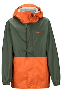 Boys' PreCip Eco Jacket, Crocodile/Mandarin Orange, medium