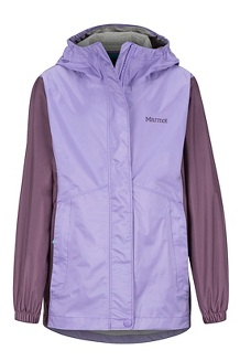 Girls' PreCip Eco Jacket, Paisley Purple/Vintage Violet, medium