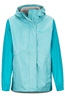Girls' PreCip Eco Jacket, Aquarelle/Blue Tile, medium