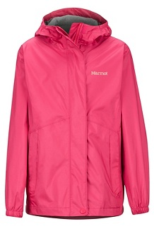Girls' PreCip Eco Jacket, Disco Pink, medium