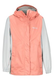 Girls' PreCip Eco Jacket, Coral Pink/Bright Steel, medium