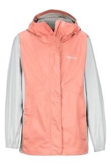 Girls' PreCip Eco Jacket, Coral Pink/Bright Steel, medium