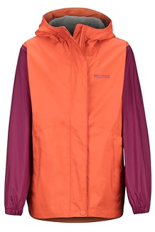 Girls' PreCip Eco Jacket, Nasturtium/Purple Berry, medium