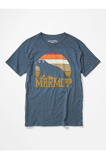 Men's Dawning Marmot Short-Sleeve T-Shirt, Navy Heather, medium