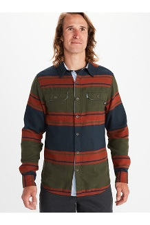 Men's Del Norte Midweight Flannel Long-Sleeve Shirt, Brown, medium