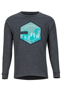 Men's Deep Forest Long-Sleeve T-Shirt, Charcoal Heather, medium