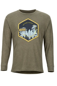Men's Deep Forest Long-Sleeve T-Shirt, Olive Heather, medium