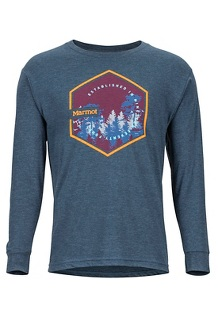 Men's Deep Forest Long-Sleeve T-Shirt, Navy Heather, medium